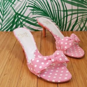 Charles David Collection pink polka dot mom mules
